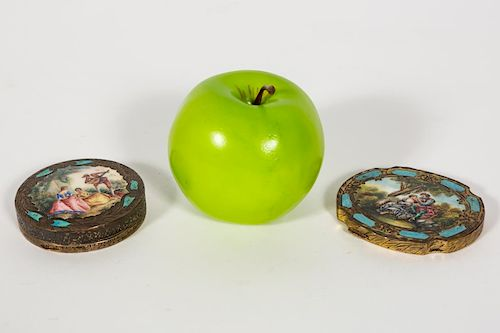 "Two ""800"" Gilt Silver & Enameled Compacts"