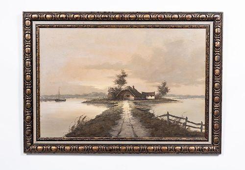 Marl Martens Signed Oil, Cottage in Landscape