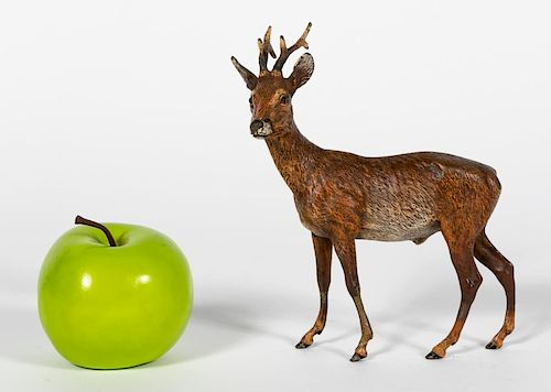 L. 19th C. Franz Bergman Cold Painted Bronze Deer