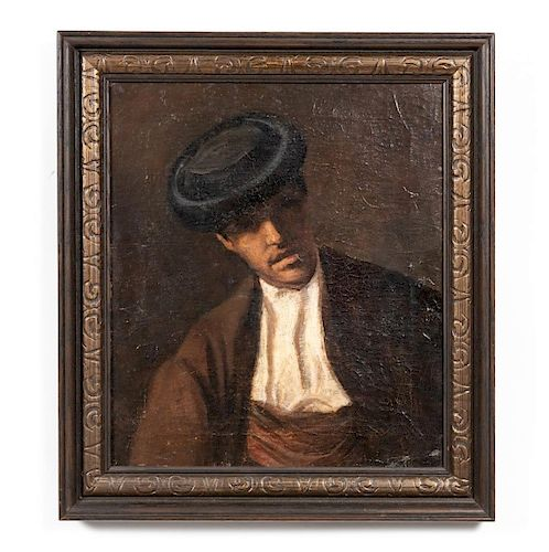 19th C. Spanish School Portrait of a Man in Hat