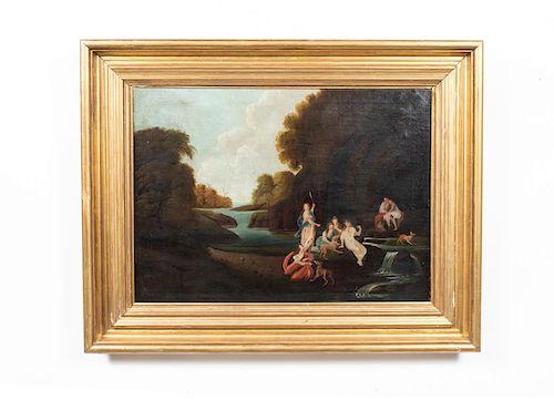 19th Century Oil on Canvas, Woodland Landscape