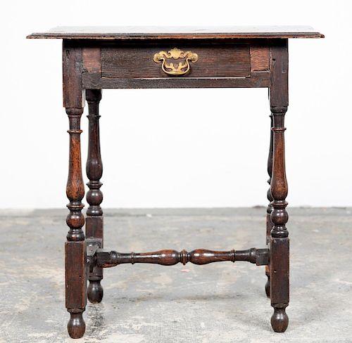 18th C. William &  Mary Turned Leg Oak Side Table