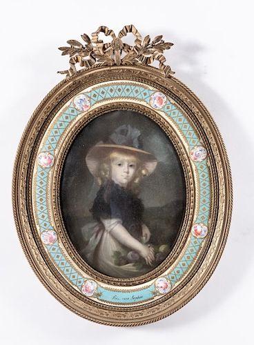 Portrait of Princess Sophia in Floral Enamel Frame
