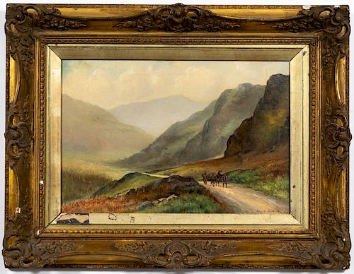 Alfred Wilde Signed O/C Landscape w/ Buggy