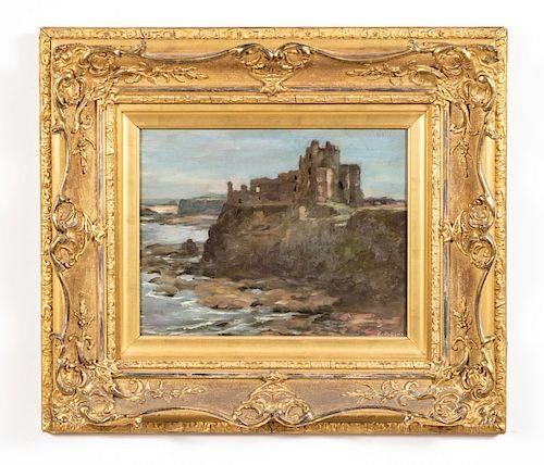 A. P. Dixon, Oil on Panel, Castle Ruins