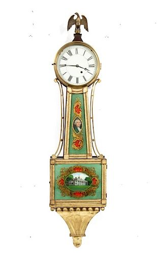 """American Federal Style Patent or """"Banjo"""" Clock"""