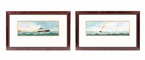 19th C. Dutch School, Pair of Nautical Watercolors