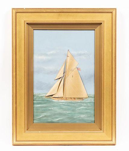 Thomas Willis, Mixed Media on Canvas, Racing Yacht