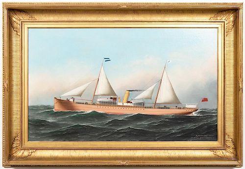 Antonio Jacobsen Aguan Ship Portrait, O/C.