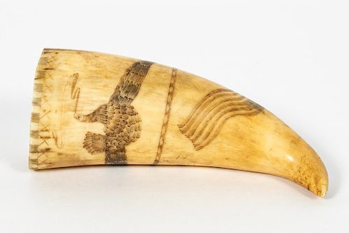 Early Americana Style Scrimshaw Walrus Tusk