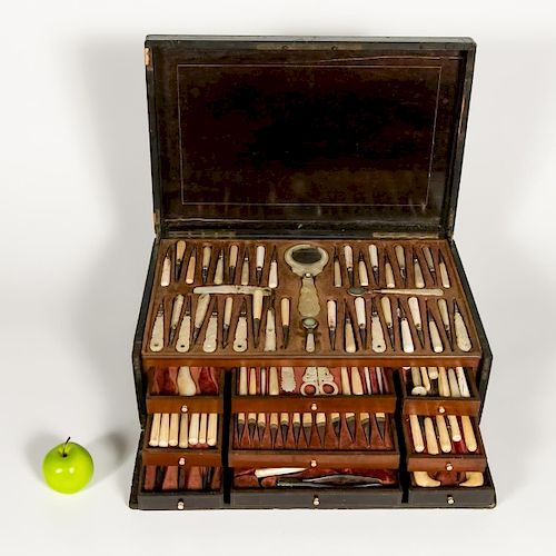 Elaborate Antique Mother-of-Pearl Cased Dental Set