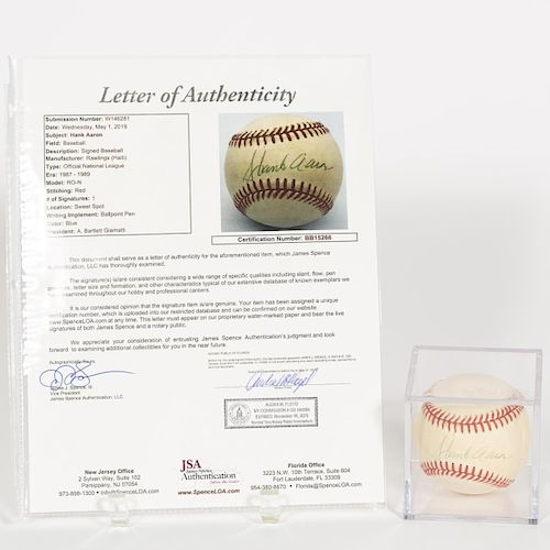Cased Hank Aaron Autographed Baseball, JSA Auth.