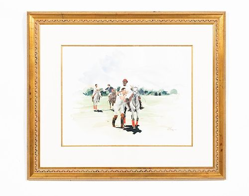 Rodney Skidmore Signed Watercolor, Polo Players