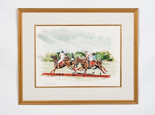 Saratoga NY Polo Match Watercolor, Rod Skidmore