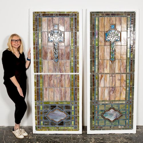 Pair of Large Stained Glass Panels, Circa 1920's