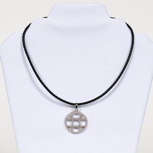 Cartier Style 18K White Gold & Diamond Pendant