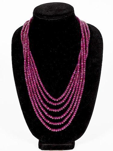 Uncut Ruby Mulit-Strand Necklace