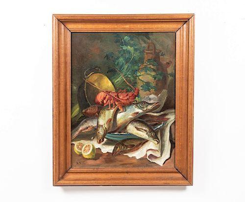 N. Dali, Oil on Canvas, Still Life of Seafood