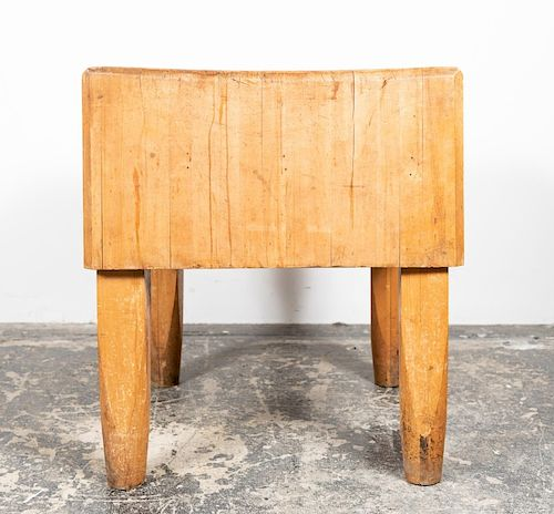 Solid Maple Butcher's Block Table, Early 20th C.