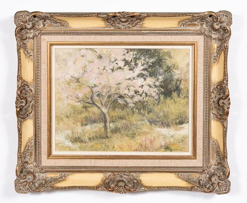 N. Noble, Pastel, Landscape with Apple Tree