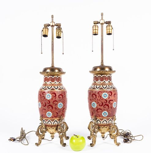 Pair, Longwy Workshop Pottery Floral Table Lamps