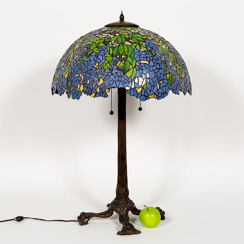Bronze Table Lamp w/ Tiffany Style Leaded Shade