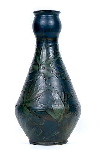 Herman Kahler Art Pottery Navy Floral Vase