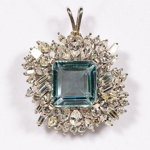 Platinum, Aquamarine, & Diamond Pendant, 20.10 CTW