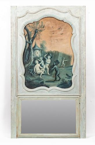 18th C. French Painted Boiserie Trumeau Mirror
