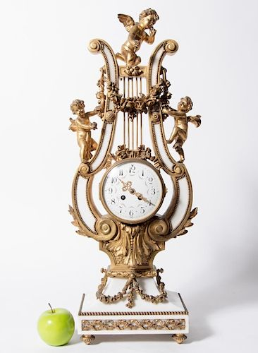 Louis XIV Style Alabaster & Gilt Bronze Lyre Clock