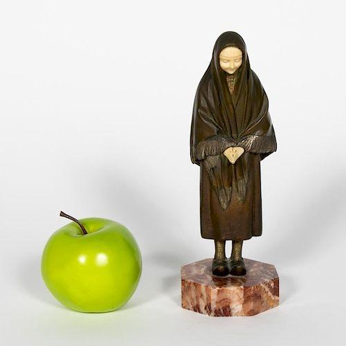 Demetre H. Chiparus, Female Praying Bronze Signed