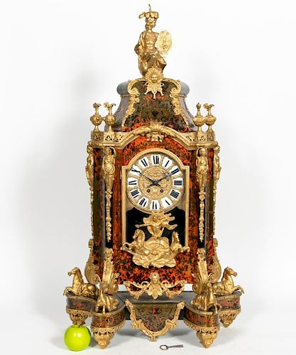 Louis XV Style Boulle & Ormolu Mantle Clock