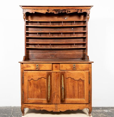 18th C French Provincial Fruitwood Pewter Cupboard