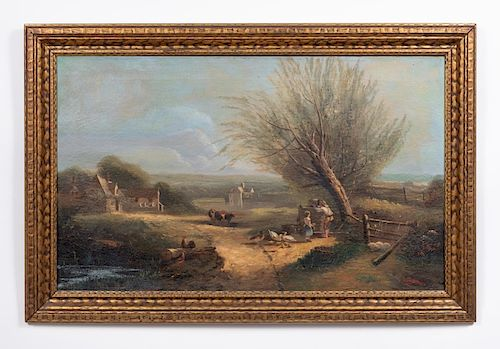 S.Delaveau 1836 O/C, Rural Landscape Scene