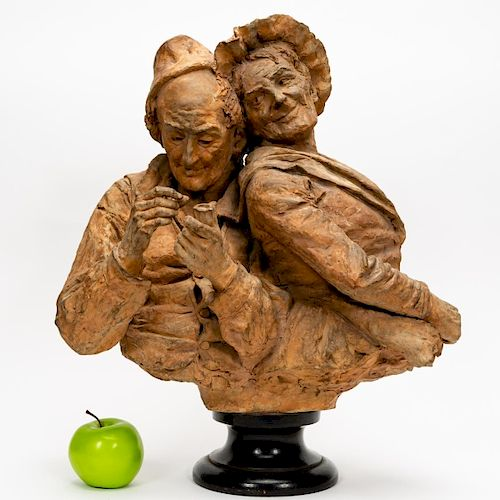 French School Terracotta Sculpture, Two Figures