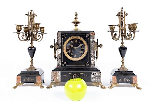 Three Piece French Brass & Marble Mantle Clock Set