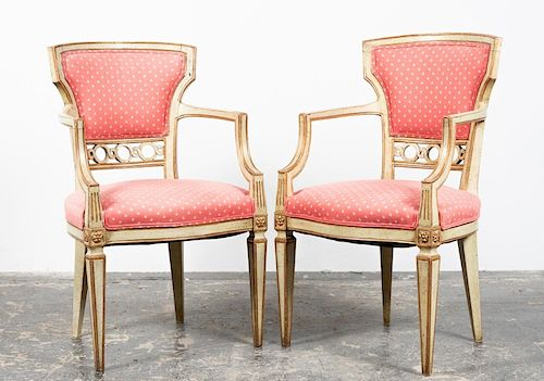 Pr., Italian Neoclassical Style Painted Arm Chairs