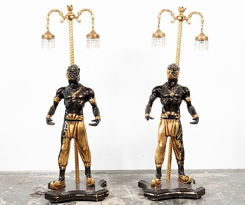 Pair, Large Mid Century Blackamoor Two Light Lamps
