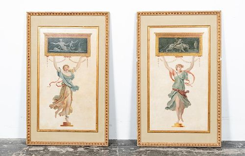 Pair, Framed Decorative Oil on Canvas Panels