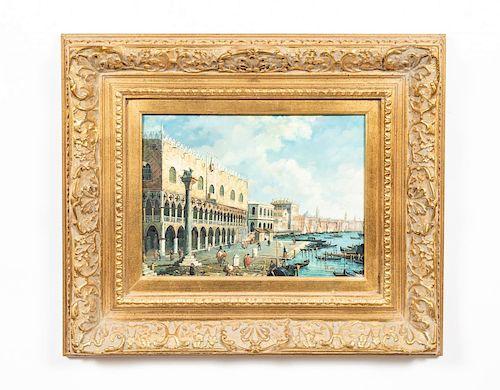 J. Morris, Oil on Wood Panel, Venice