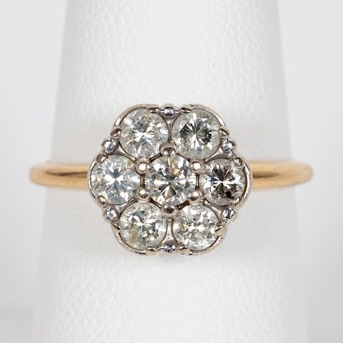 14k Two Tone Gold & Diamond Floral Motif Ring