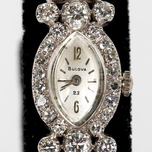 Ladies Bulova 14k WG & Diamond Wrist Watch