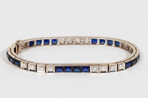 1920's 14k WG, Diamond, & Sapphire Bracelet