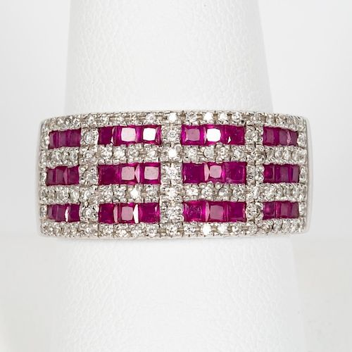 Levian 18k White Gold, Diamond, & Ruby Ring