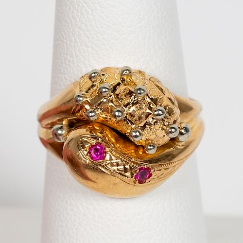 18k Yellow Gold, White Gold, & Ruby Stylized Ring