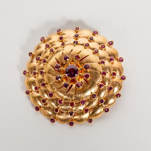 Handmade 18k Rose Gold & Ruby Round Brooch