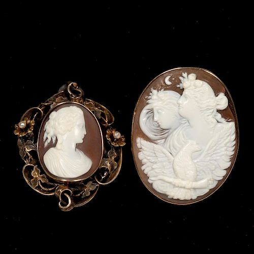 Two Female Figural Cameo Brooches/Pins