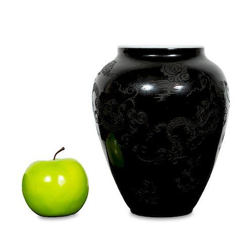 Sinclair Black Mirrored Dragon Motif Acid Cut Vase