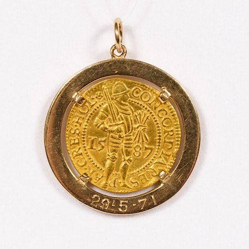 14k Yellow Gold & 1587 Dutch Coin Necklace Pendant