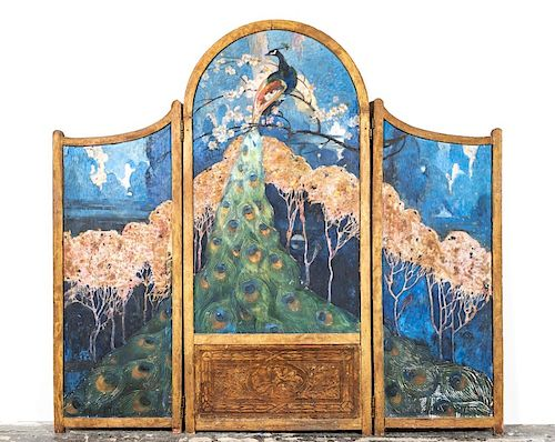 Bird Motif Painted Double Sided Three Panel Screen